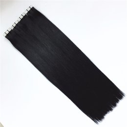 "Wholesale Double Drawn Extensions - Grade 10a double drawn--100% human hair Silk Straigt wave 12""-26"" Skin Weft PU tape on hair Extensions 100g pack 2.5g s & 40pcs lot dhl free"