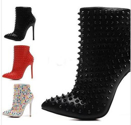 Wholesale Sexy Shoes Spiked - Sexy Luxury Black Red Leather with Spikes Pointed Toes Womens Ankle Boots,12cm Fashion Designer Ladies Red Bottom High Heels Shoes Pumps