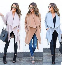 Wholesale Trench Coat Collar Up - 2017 Fashion Temperament Women Trench Coat Slim Long Coat Jacket ladies Solid Wool Blends Windbreaker Parka Outwear S-XL