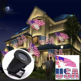 Wholesale National Lighting - 4W Waterproof national flag projection lamp Moving Snowflake Film Christmas Lawn Show Projector Light Outdoor IP44 Pattern Decoration lamp