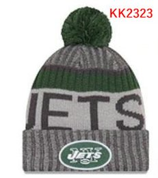 Wholesale Beaches New York - New Fashion Unisex New York Winter Jets Hats for Men women Knitted Beanie Wool Hat Man Knit Bonnet Beanie Gorro Warm Cap