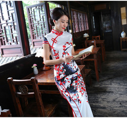 Wholesale Chinese Sexy Traditional Dress - Chinese Traditional Long Cheongsam Women's High-Grade Chirpaur Oriental Sexy Split Silk Qipao Printed Long dress Vintage Slim Skirt