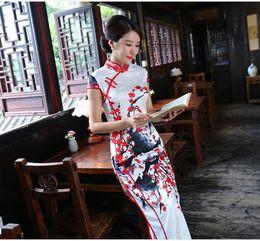 Wholesale Traditional Oriental Dress - Chinese Traditional Long Cheongsam Women's High-Grade Chirpaur Oriental Sexy Split Silk Qipao Printed Long dress Vintage Slim Skirt
