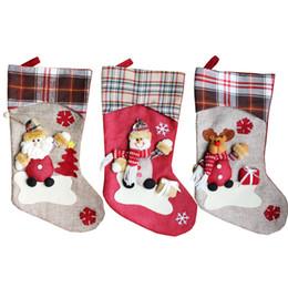 Wholesale Christmas Decoration Santa Claus Dolls - 1 PC Christmas Hanging Socks Lovely Gift Bag Doll Models Cartoon Santa Claus Snowman Big Stocking Party New Year Supplies 2017