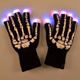 Wholesale Show Costumes - LED Skeleton Gloves Light Up Shows Light Up Knit Gloves Light Show Gloves for Party Rave Birthday Halloween Costume Novelty Toy