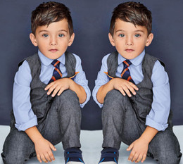 Wholesale Spring Male Outfits - Fashion Baby Boys Clothes Vest + Shirt + Tie + Pants 4 pcs Boys Sets Children's Clothing Handsome Male Kids Clothes Kids Suits Boys Outfits