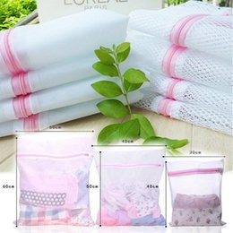 Wholesale Storage Laundry Washing Bag - 3 Sizes Zippered Mesh Laundry Wash Bags Foldable Delicates Lingerie Bra Socks Underwear Washing Machine Clothes Protection Net H210458