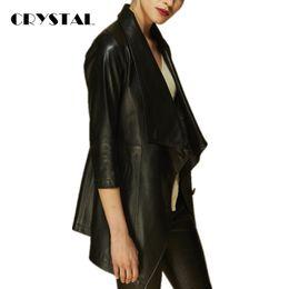 Wholesale Genuine Leather Outwears - Wholesale-CRYSTAL Luxury Women Genuine Leather Jacket 100% High Quality Sheep Skin Coat Medium-Long Three Quarter Sleeve Outwear 2016 New