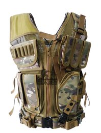 Wholesale Black Tactical Vests - wholesale TOP quality Tactical Vest Multifunction Fight vest CS Camouflage Training clothes breathable JPC Field operation Protect equipment