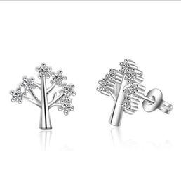 Wholesale Crystal Wish Tree - 925 Sterling Silver Small Natural Crystal Stud Earrings Bling Wish Tree of Life Zircon earrings Women Ear Jewelry ED111