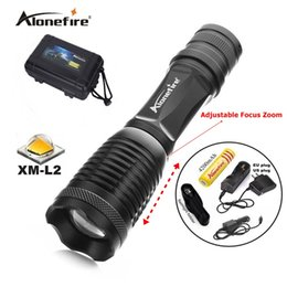 Wholesale Rechargeable Led Tactical Flashlight - 100% AUTHENTIC E007 CREE XML L2 2200Lm 5 Mode Zoom rechargeable CREE LED Flashlight torches lamp+1x18650 Battery charger car charger Holster