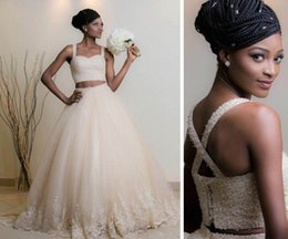 Wholesale Sexy Cross Skirt - 2016 Two Pieces African American Wedding Dress Crystals Beaded Back Cross Straps Lace Tulle Skirt Beach Bridal Gowns Ivory Wedding Dresses