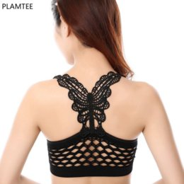 Wholesale Butterfly Bra Tops - Wholesale-New Arrival Yoga Bra 5 Colors Butterfly Fitness Vest Seamless Sport Bra Shockproof Sexy Underwear Professional Jogging Gym Tops