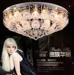 Wholesale Ceiling Hanging Light Fixture - New Modern Round Crystal Chandeliers D80cm Flush Mount Ceiling Lamp E14 Led Stainless Steel Lustre Hanging Lights Fixtures Indoor Lighting