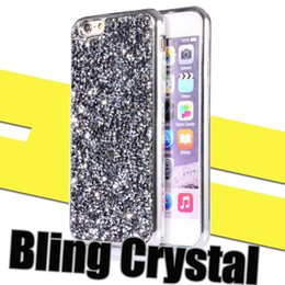 Wholesale Diamond Pattern Plastic - Iphone 7s Case Bling Crystal Diamond Pattern Sparkly Handmade Rhinestone TPU Silicone Bumper Cover Perfect Fit for Samsung S7 S6 edge