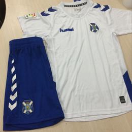 Wholesale Victor Shirt - 2018 Kids Kit Tenerife Football Jersey 2017 18 Home White Away Blue Boy Soccer Jerseys Juan Villar Aitor Sanz Victor Child Soccer Shirts