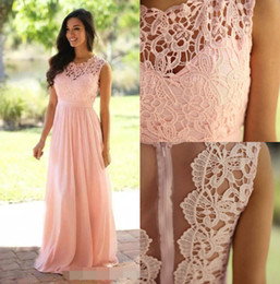 Wholesale Cheap White Chiffon Fabric - Cheap Long Formal Dresses for Women A Line Lace Appliques Sweep Train Bridesmaid Dresses Chiffon Fabric Sheer Neck Formal Gowns