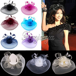 Wholesale Hair Clips Netting - Wholesale- Fashion Woman Girl Fascinator Veil Net Hat Topper Hair Clip Cones Feathers For Wedding Party Races
