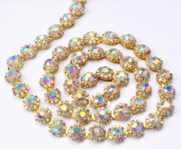 Wholesale Sew Glass - New listing 90cm AB strass crystal rhinestone gold 12mm width tone round chain fancy costume applique trim sewing