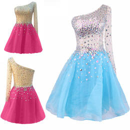 Wholesale Winter Water Factory - Sexy See Through Sheer Shining Short Prom Dresses Bling Crystals One Shoulder Long Sleeve Homecoming Dresses Factory Cheap Party Gown Dress