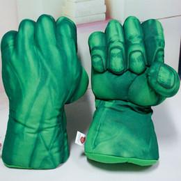 Wholesale iron sell - Hot Selling Incredible Spiderman Green Hulk Iron Man Plush Gloves Boys Girls Cosplay Toys Anime Game Children Gloves Length 28cm