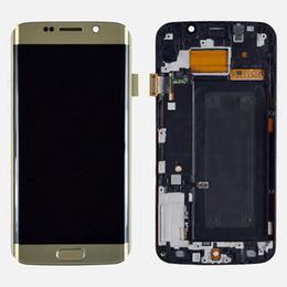 Oro del bordo della galassia s6 online-Display LCD per Samsung Galaxy S6 Edge G925F con Touch Screen Digitizer + Frame