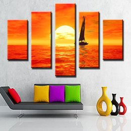Wholesale Framed Fine Art - Famous Fine Art Paintings Set Sail Sunset Beautiful Sea Scenery Art Painting Sale No Frame Home Decor Painting