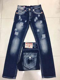 Wholesale Robin Jeans Men - New Men's True Jeans ROBIN High Quality Trousers Denim Designer Dark Solid color Straight tr Jean For Men Pants Free Shipping