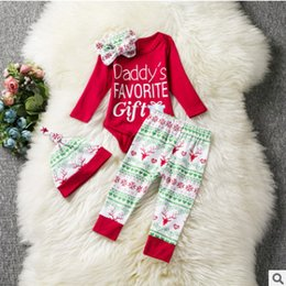 Wholesale 3pc Romper Sets - Baby Christmas outfits newborn letter print red romper+love heart antlers print pants+snow hats 3pc sets baby girl boy cartoon clothes R0266