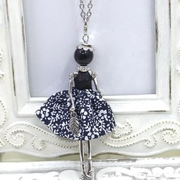 Wholesale Love Dolls Sales - 2016New doll Pendant Necklace sales girl female charm key chain bag charm jewelry retail Handmade doll necklace free shipping