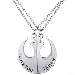 Wholesale Badge Chain Necklace - 2pcs set Broken Torn into two splicing Combo Lettering I Love You Rebels Army badge necklace 2in1 Pendant Star Trek necklace x251