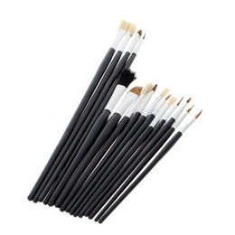 Wholesale Paintbrush Bristles - 15pcs Different Shape Bristle Hair Paint Brush Paintbrush Set Gouache Watercolor Oil Painting Acrylics Art Supplie
