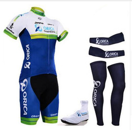 Wholesale Cycling Jersey Shorts Warmers - Hot 2016 cycling team orica greenedge complete set pro cycling jersey bibs shorts with cycling leg warmers & arm warmer & shoes cover