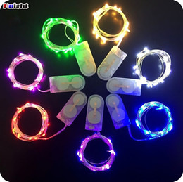 Wholesale Flowers Batteries Lights - mini butter led copper light 1M 2M 3M 4m coin battery operated Copper wire led fairy string light for wed party flower arrangement 50pcs lot