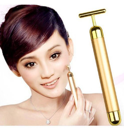 Wholesale 24k Gold Vibration - 24K Gold Plated Vibration Facial Beauty Roller Massager Stick Skin Rejuvenation Face Lifting Vibrating Bar Face Skin care with boxs
