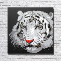Wholesale Tiger Abstract Canvas - White Tiger Head Painting for Living Room Wall Hand Painted Oil Painting Home Decor Wall Pictures Modern Canvas Art Cheap No Framed