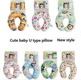 Wholesale Wholesale U Shaped Pillows - Baby pillow Neck protection pllow Strape cover set Cars U-shape outdoor travel pillows Short plush Soft Cartoon Maternity supplies 2016