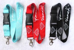 Wholesale Custom Neck Lanyards - New arrival! 120pcs Black  Red  Teal Diamond Logo custom lanyard  neck Lanyard  mobile phone keychain  Strap Lanyard
