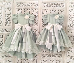 Wholesale Dress Trimmed Flowers - Two Set Little Girls Pageant Dresses 2016 Kids Lace Trimming Birthday Sister Wearing Party Dresses with Ruffle Skirt Flower Girl Dresses
