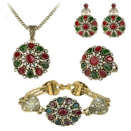Wholesale earing beads - 4Pcs Crystal Flower Necklace Sets Fashion Earing For Women 2016 Wedding Jewelry Turkish Combination Nigerian Red Bead Necklace