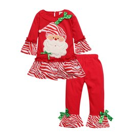 Wholesale Stripes Pajamas - 2017 Christmas Girls Santa Claus Outfits Pleated Hem Dresses Stripes Pants Baby Girl 2 Pieces Clothing Sets Xmas Pajamas