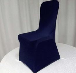 Wholesale Blue Spandex Chair Covers - Navy Blue Lycra Spandex Chair Cover Flat Front Stretch Spandex Lycra Chair Cover For Hotel Banquet Wedding Decoration