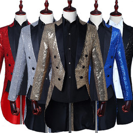 Wholesale long tuxedo dresses prom - Male Sequins Tailcoat Suit Jackets Prom Formal Host stage performance Tuxedo Blazer full dress Magician show Tails Teams Chorus show costume