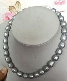 Wholesale 13mm Pearl Necklace - Wholesale 12-13mm natural south sea gray baroque pearl necklace 18 inch 14k gold