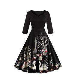 Wholesale Rockabilly Plus - Vestidos Vintage V Neck Autumn Dress Swan Printed 60s Audrey Hepburn Casual Dresses Rockabilly 4XL Plus Size Short Party Dress FS0924