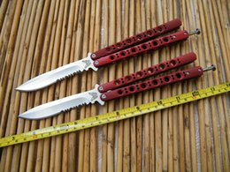 Wholesale Practice Balisong - Benchmade BM42S Butterfly Balisong knife ,practice balisong butterfly Trainer, Serrated Blade, cast stainless steel Red handle