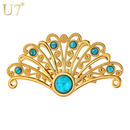 Wholesale Turquoise Pins - unique Fan-Shaped Turquoise Brooches For Women Wholesale 18K Real Gold Platinum Plated 4 Colors Bohemian Clip Brooches Jewelry B106