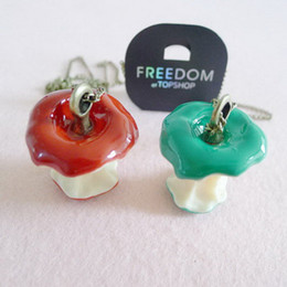 Wholesale Gold Apple Pendant - 1Pc Fashion Retro Vintage Green Red Apple Core Pendant Long Necklace Chain C00397