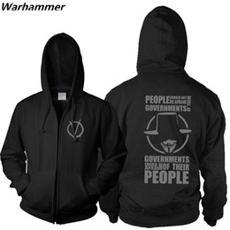 Wholesale Natural Guys - 2017 New Arrival Master Swordsman Anarchist V For Vendetta Zipper Hoodie Sweatshirt Computer Hacker Guy Fawkes Mask O-neck Cotton Hoodie Men