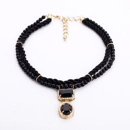Wholesale 18k Gold Cord - Newly cord choker statement necklaces kendra crystal pendant pearl heavy necklace chokers for ladies fashion jewelry
